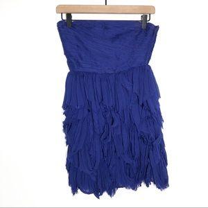 Free People ruche fringe mini strapless blue dress